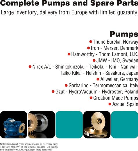 Pumps, complete & spare parts